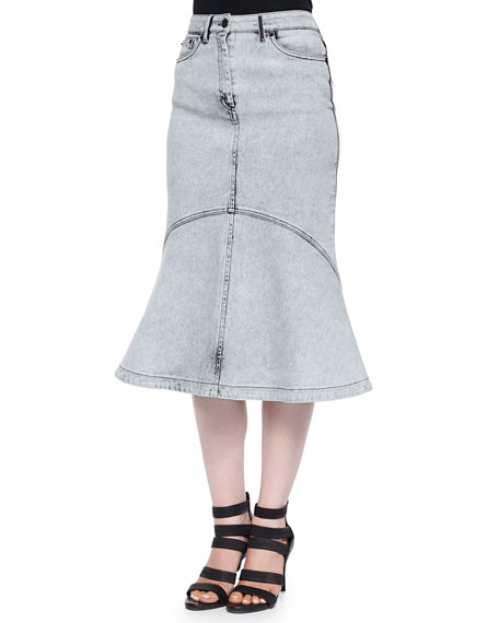 Snow-Washed Flared Denim Skirt