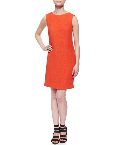 Symbols-Pattern Sleeveless Crepe Dress