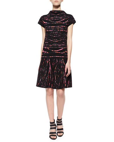 Printed-Stripe Dropped-Skirt Dress