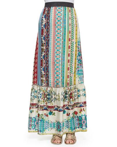 Nova Printed Silk Tiered Maxi Skirt, Women's