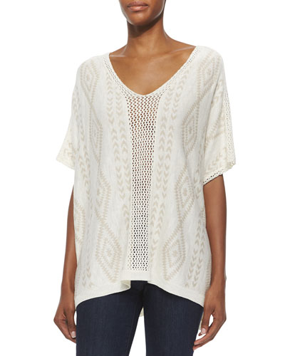 Geometric Knit Pullover Poncho, Sand
