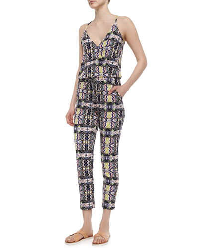 Geometric-Print Surplice Jumpsuit