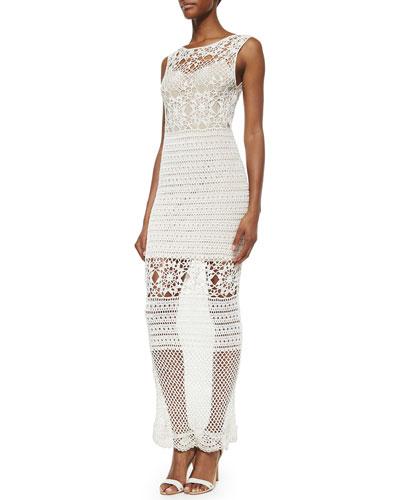 Amari Crochet Long Dress, Cream