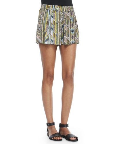 Chevron-Print Pull-On Shorts