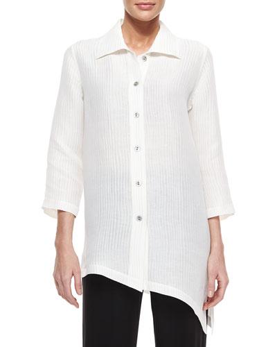 Caroline Rose Long-Sleeve Ribwave Shirt, Petite