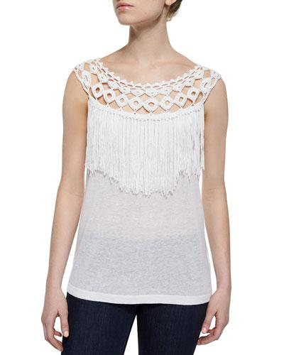 Fringed Slub-Knit Sleeveless Top, White