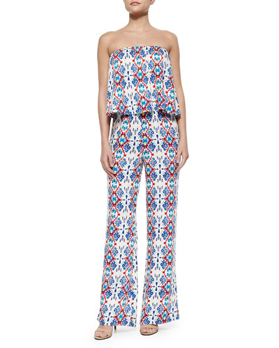Printed Strapless Jumpsuit, Rojo
