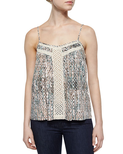 Lace-Inset Printed Camisole