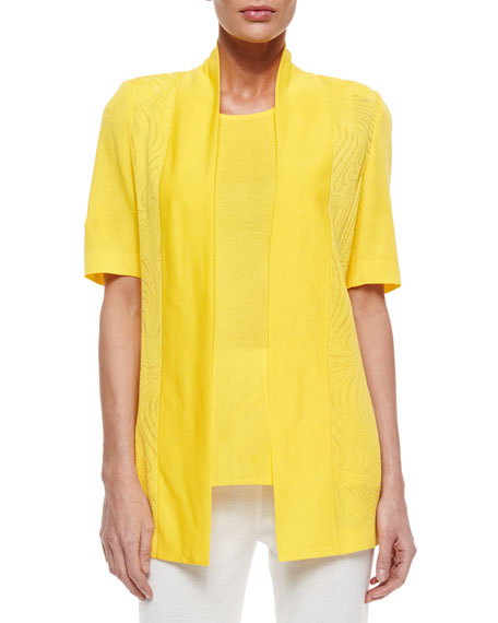 Misook Short-Sleeve Graphic Lines Cardigan, Women's