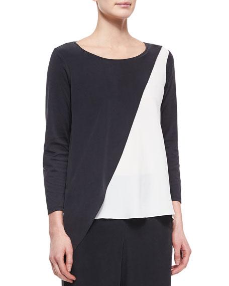 Go Silk Spliced Asymmetric Silk Tunic, Petite