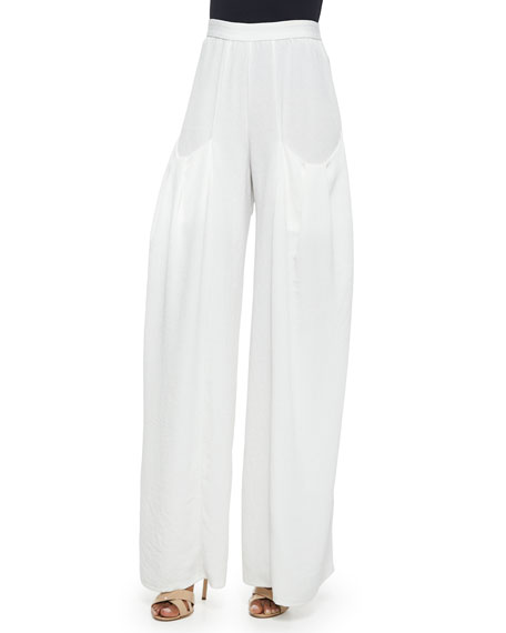 Pleated-Pocket Wide-Leg Pants