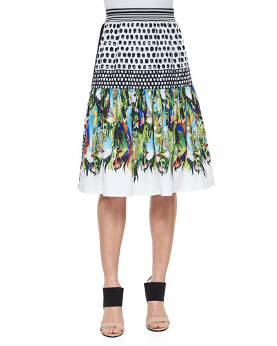 Flourishing Oasis Mixed-Print Skirt