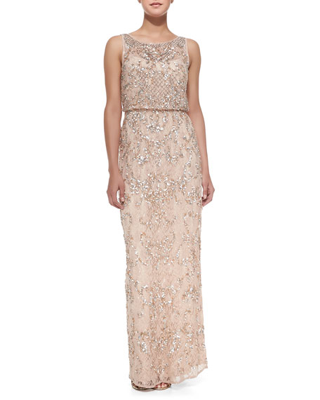 Sleeveless Beaded Lace Gown