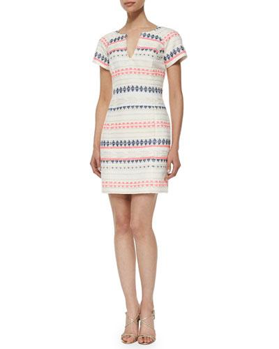 Angela Short-Sleeve Tweed Dress