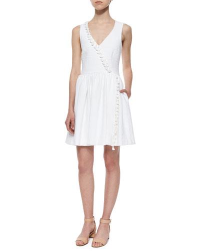 Alessia Fit-and-Flare Tassel-Trim Dress