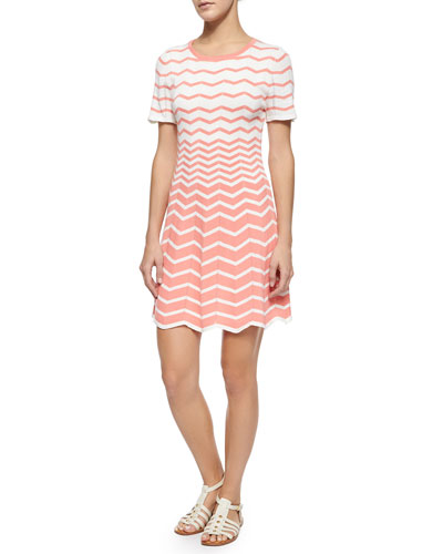 Martinique Short-Sleeve Zigzag Fit & Flare Dress