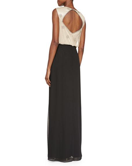 Sleeveless Blouson Combo Gown