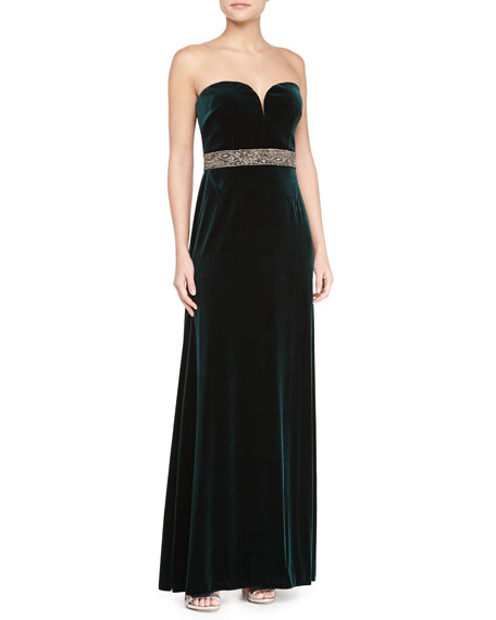Strapless Velvet Sweetheart Gown