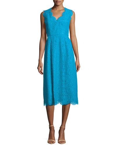 Cindy Lace Dress, Cyan Blue