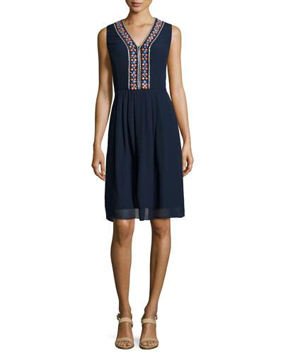 Beaded-Detail Sheath Dress, Navy/Cantaloupe