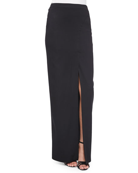 Stretch Crepe Front-Slit Maxi Skirt