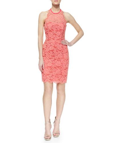 Sleeveless Lace Halter Cocktail Dress