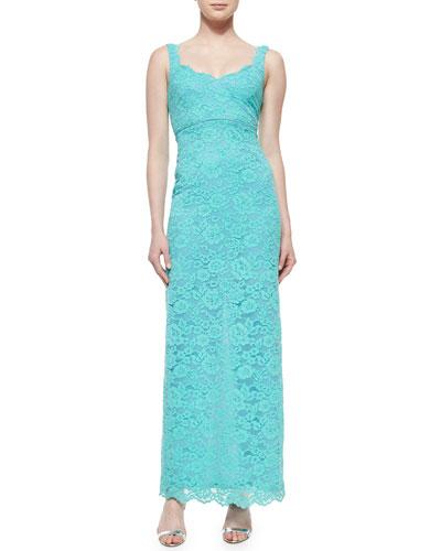 Sleeveless Lace Gown, Aqua