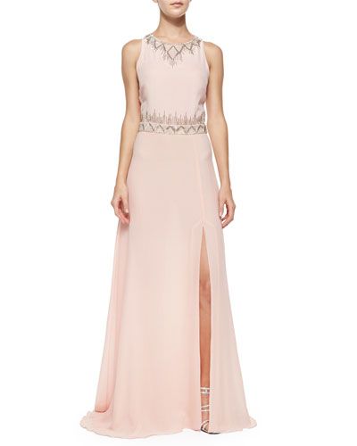 Sleeveless Beaded-Neck/Waist Gown