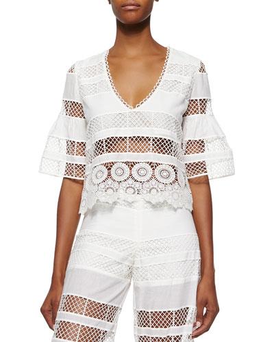 Aden Crochet Crop Top, Linear Off White