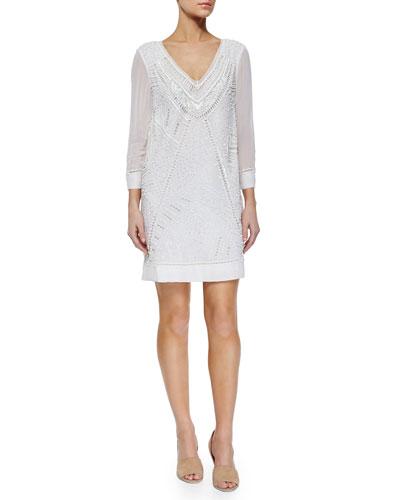 Evisaa Beaded Chiffon Shift Dress, Summer White