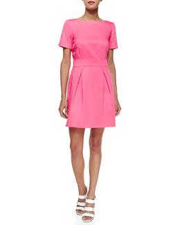 Short-Sleeve Pleated Sateen Dress, Keywest Coral