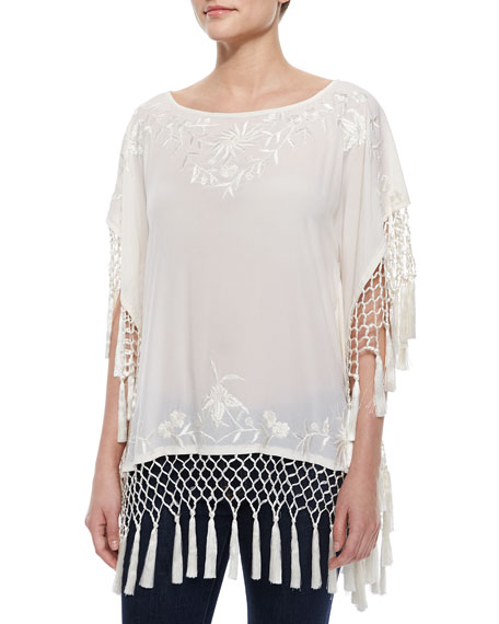 French Connection Raquel Embroidered Fringe Top, Cream