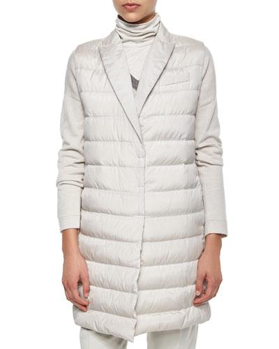 Silk Sleeveless Puffer Jacket, Dove