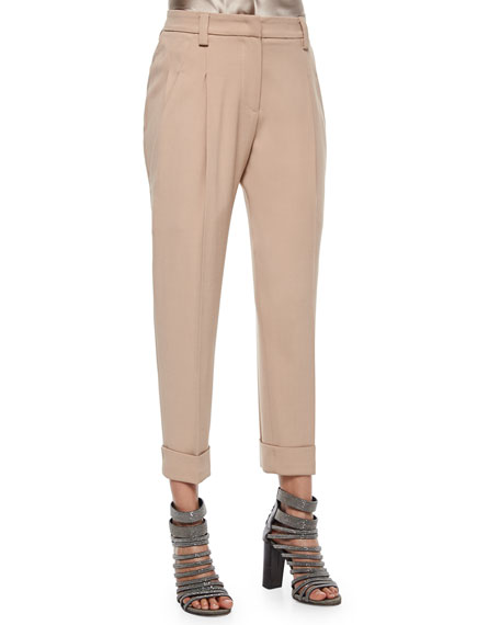 Brunello Cucinelli Slouch Cuffed Pants, Toffee