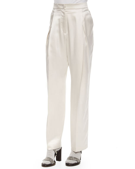 Brunello Cucinelli Satin Pleated Wide-Leg Pants