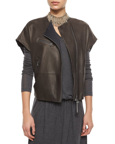 Short-Sleeve Leather Zip Jacket