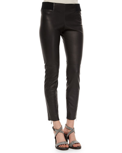 Leather Ankle-Zip Leggings