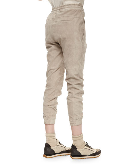 Suede Drawstring Pull-On Pants