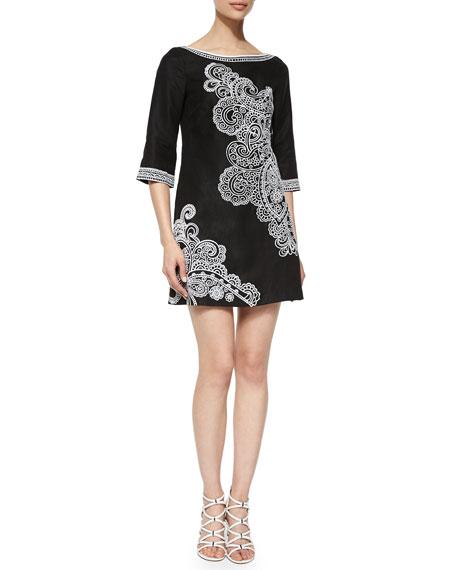 Nanette Lepore 3/4-Sleeve Paisley-Print Dress