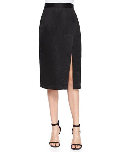 Linen-Blend Pencil Skirt with Slit