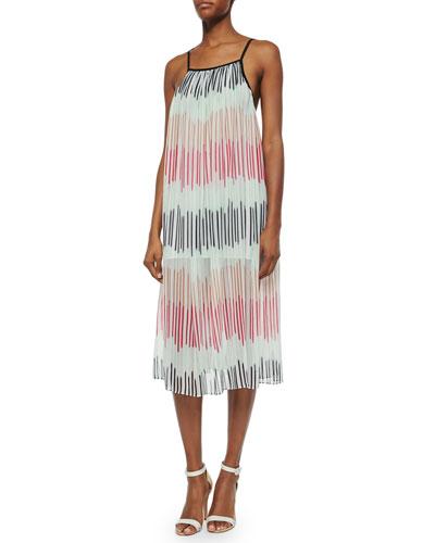 Zuri Square-Neck Pleated Midi Dress, Multicolor