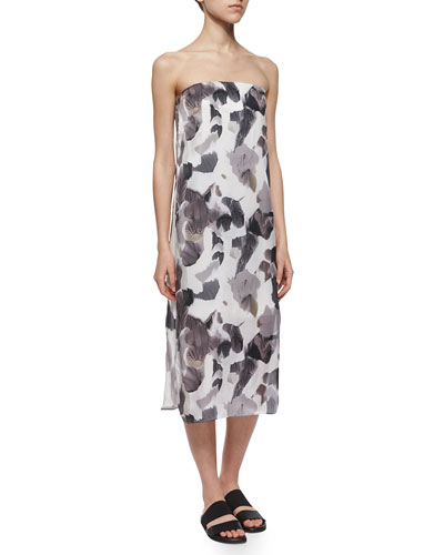 Strapless Crypsis-Print Dress