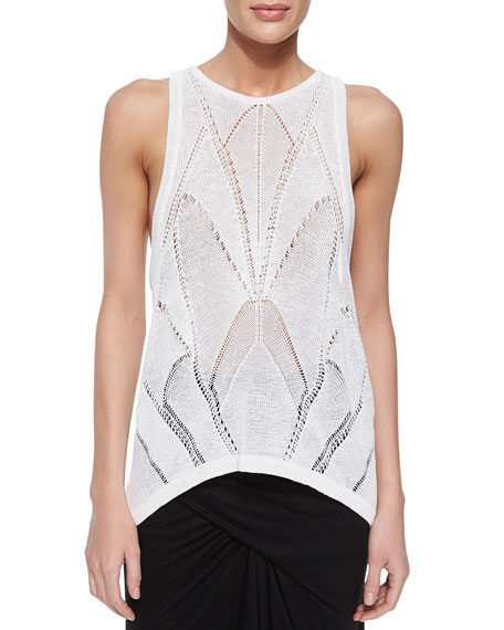 Fractured Lace Tank, White