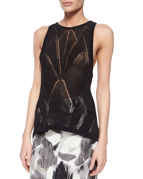 Fractured Lace Tank, Black