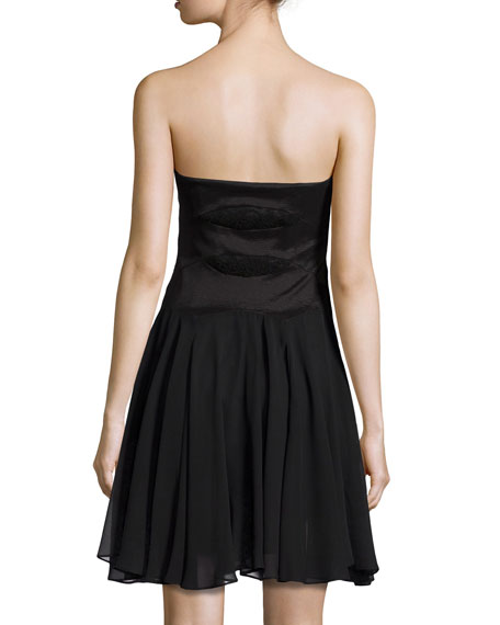 Strapless Lace-Inset Cocktail Dress
