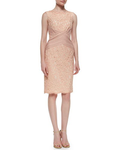 Sleeveless Lace Crisscross-Waist Cocktail Dress