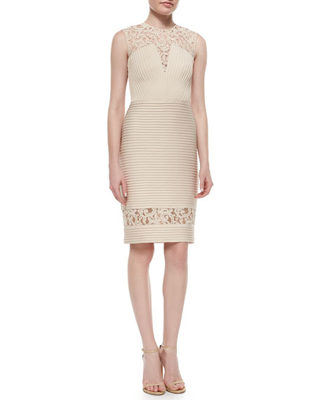 Tadashi Shoji Sleeveless Lace Banded Combo Cocktail Dress