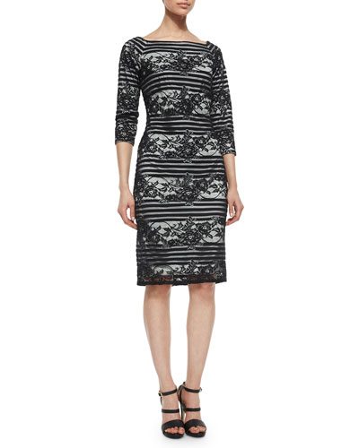 3/4-Sleeve Striped Lace Cocktail Dress