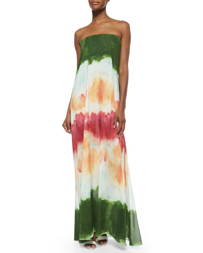 Yulissa Watercolor Strapless Maxi Dress, Multi
