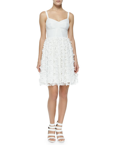 Confetti-Lace A-Line Dress, White